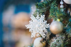 Closeup handmade Christmas tree ornaments