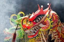 closeup head dancing dragon china