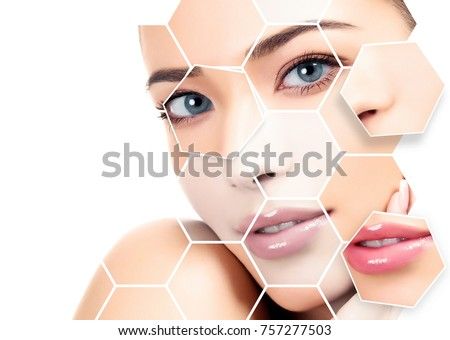 Closeup headshot portrait of a beautiful woman with beauty face and clean smooth soft skin. Skin treatments concept.