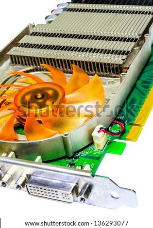 Closeup Heatsink Computer Graphics Card or Video Card (VGA).