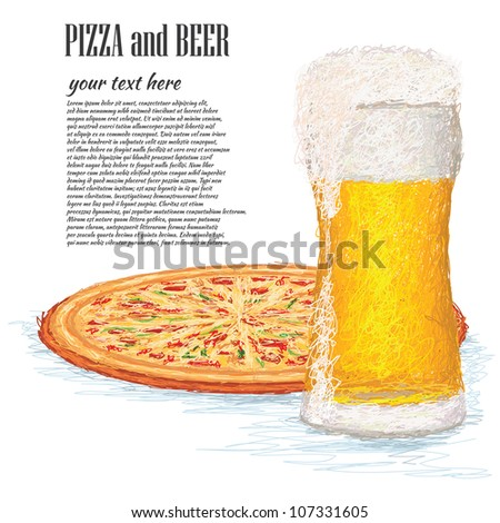 closeup illustration of a glass of ice cold beer and a whole pizza.