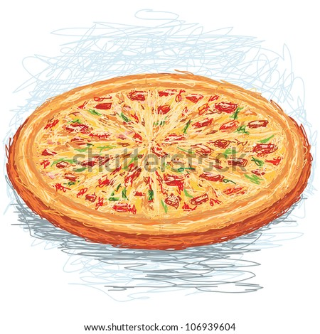 closeup illustration of a whole freshly baked pizza.