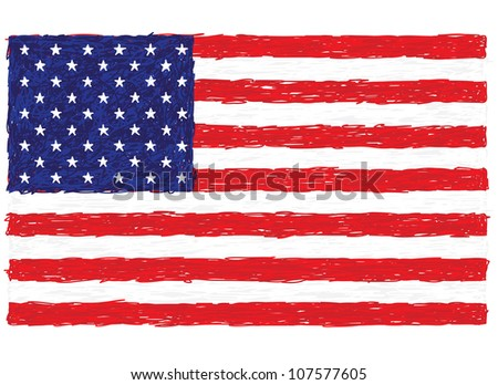 closeup illustration of the flag of United States of America. - stock photo