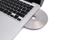 Closeup image from a laptop and a CDRom / DVD Rom reader
