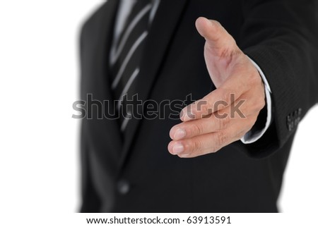 Closeup image of business man shake hand with you.
