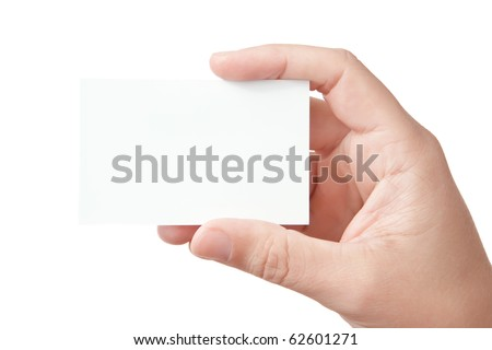Closeup image of businessman\'s hand holding blank paper business card for your message (copy space), isolated on white background