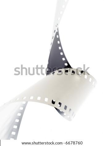 Closeup image of curling 35mm film.