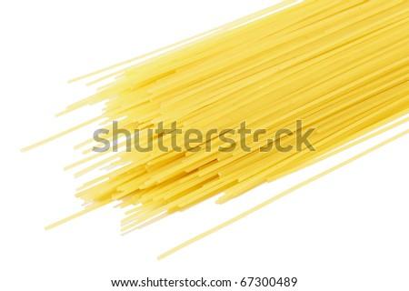Closeup image of dry pasta, isolated on white background
