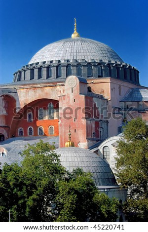 Closeup image of Hagia Sofia church in Istanbul, Turkey