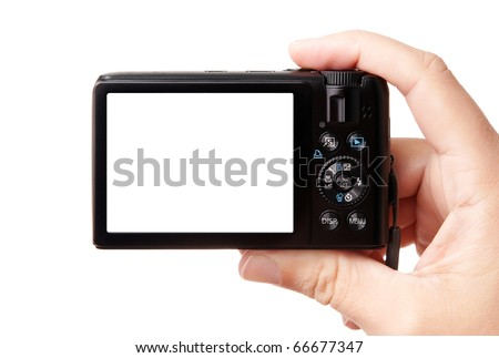 Closeup image of modern compact digital photo camera, held in hand, isolated on white background, with copy space for your picture or text