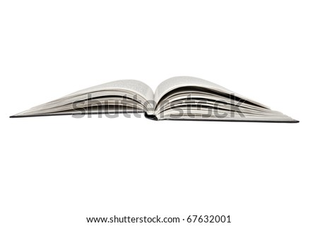 Closeup image of open book, isolated on white background