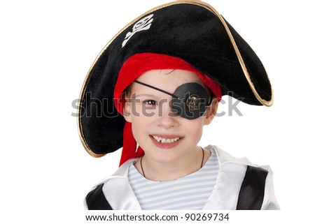 closeup image of the cute little boy in the pirate costume