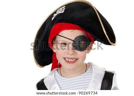 closeup image of the cute little boy in the pirate costume