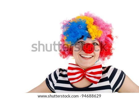 closeup image of the cute smiling clown - stock photo