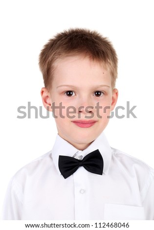 closeup image of the handsome little gentleman wearing the bow tie