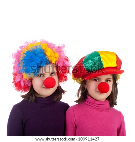closeup image of two cute little clowns