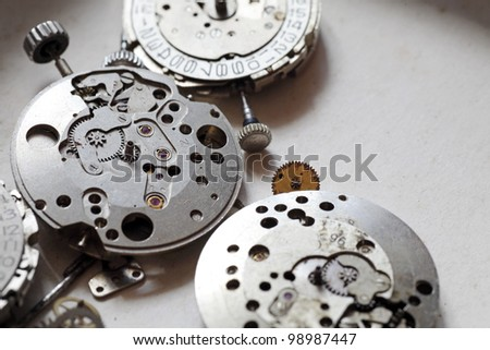 Closeup image of vintage mechanical innards of old watches.