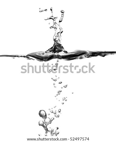 closeup image of water splash and bubble