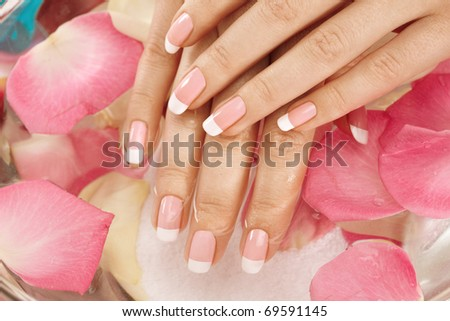 Closeup image of wet hand over rose petals on background