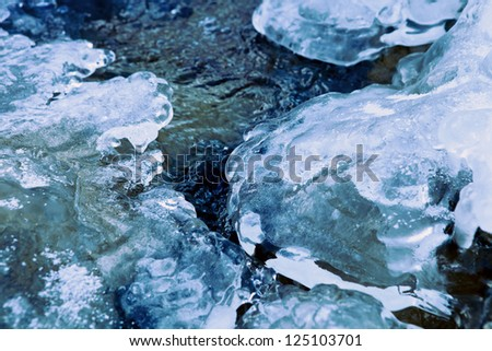 Closeup image of winter river stream under crust of ice