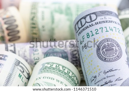 Closeup image : Seal of the Federal Reserve System, currency concept. FED or the Federal Reserve System is central banking system of United States of America, control and alleviate financial crises