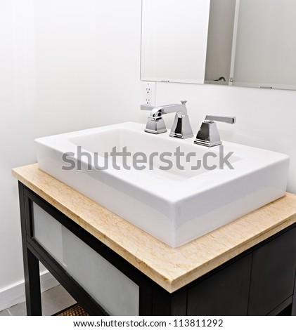 Closeup interior of bathroom vanity and mirror