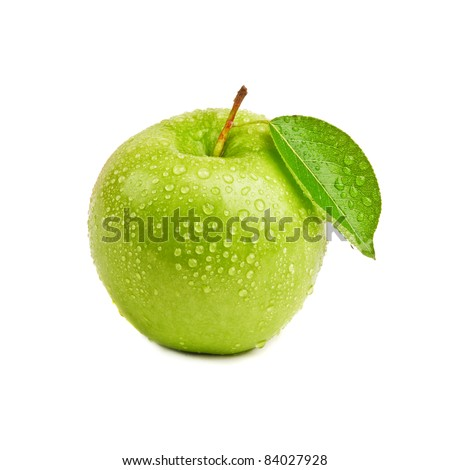 closeup isolated juicy green apple - stock photo