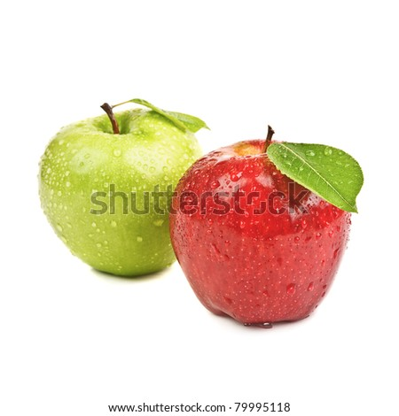 closeup isolated red and green apples