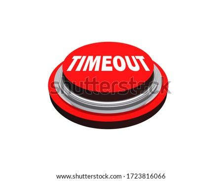 Closeup isolated red sports timeout button or time out switch 3D illustration Stock photo ©