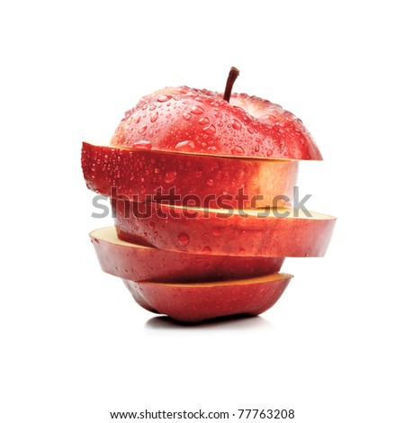 closeup isolated sliced red apple