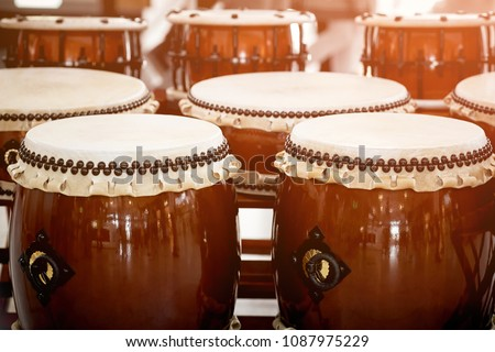 Closeup Japanese drums arrangement during a street festival. Traditional Japanese Taiko Drum.