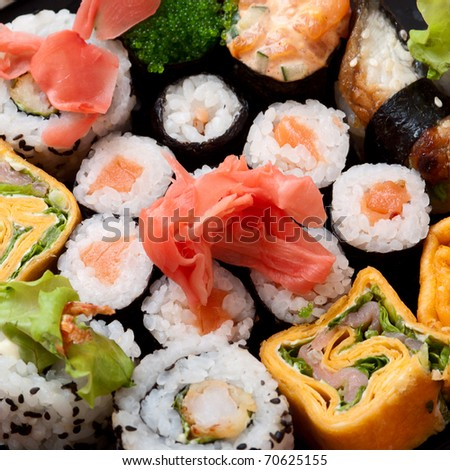 Closeup japanese sushi. Series japanese food