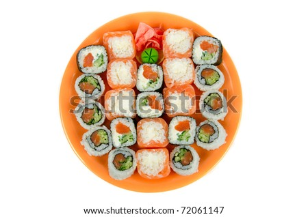 Closeup japanese sushi. Top view on a white