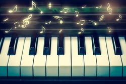 Closeup keyboard of piano with music notes, musical instrument
