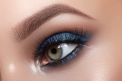 Closeup Macro of Woman Face with Blue Eyes Make-up. Fashion Celebrate Makeup, Glowy Clean Skin, perfect Shapes of Brows. Shiny Simmer and Rouge