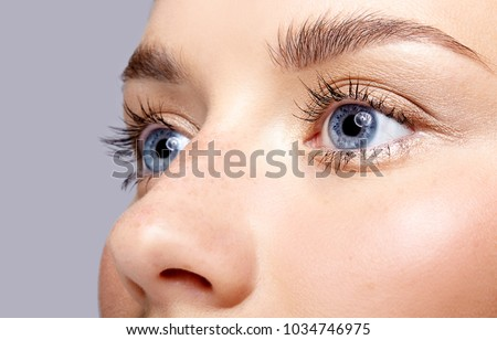Closeup macro portrait of female face. Human woman open blue eyes with day beauty makeup. Girl with perfect skin and freckles.