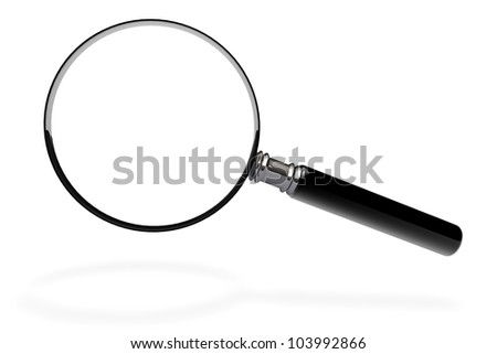 Closeup magnifying glass on a white background