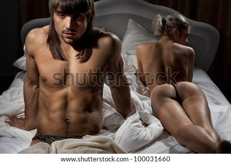 Closeup man with woman while lying in bed at home