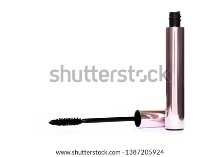 a92433d8a31 Closeup Mascara Bottle and Brush. Black Mascara wand and Tube Isolated on  White. brilliant
