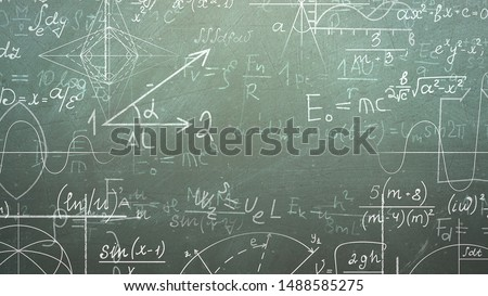 Closeup mathematical formula and elements on blackboard, school background. Elegant and luxury 3D illustration of education theme