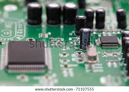 Closeup modem , view of  electronic circuit boards.