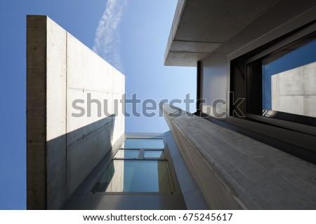 Closeup modern architecture. nobody inside