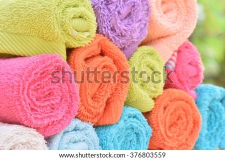 Closeup multicolor towels