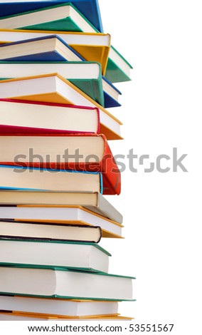 closeup multiple textbooks