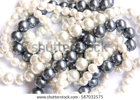 Closeup, necklaces with colored stones, jewelry, bijouteria