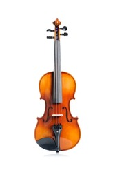 closeup new classical violin on white background
