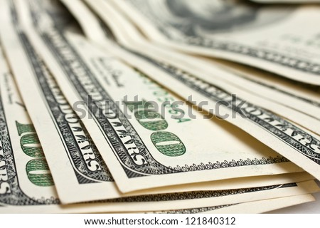 Closeup of a $100 banknotes