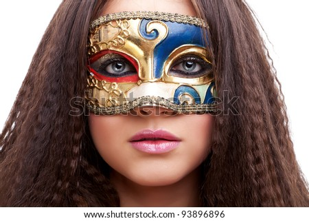closeup of a beautiful woman with mask on white background