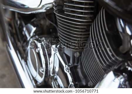 Closeup of a big shiny motorcycle engine #1056710771