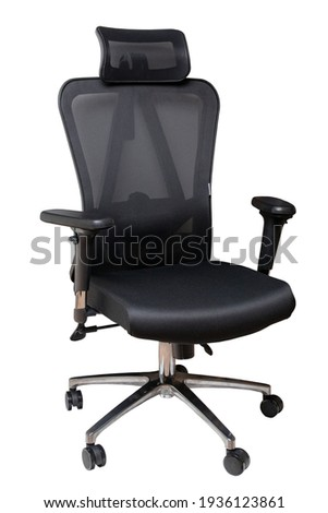 Closeup of a black comfortable office or computer swiwel chair isolated on white background. Clipping path. Ergonomic design chair for a healthy back. ストックフォト ©